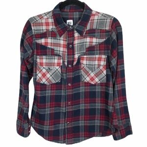 NSF multi plaid snap front flannel shirt